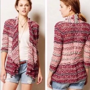 Anthropologie Moth Open Front Crochet Sweater Pink